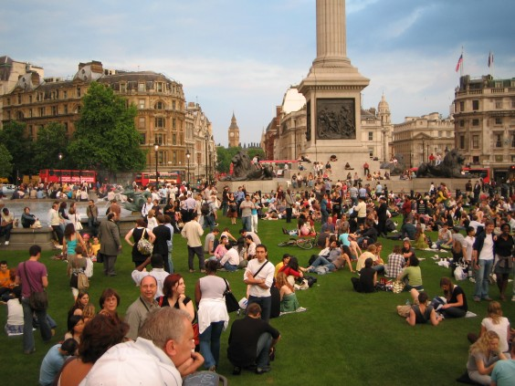 Trafalgar Square's temporary village green
