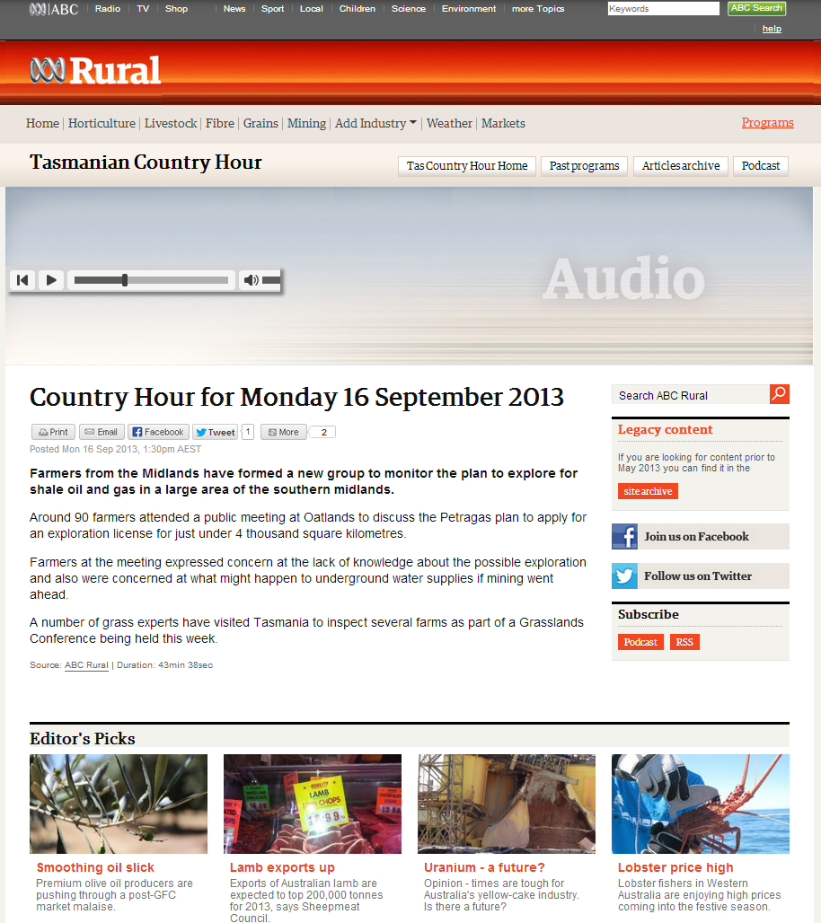 )n 963 ABC Hobart and ABC NOrthern Tasmania. The Country Hour with Tony Briscoe.