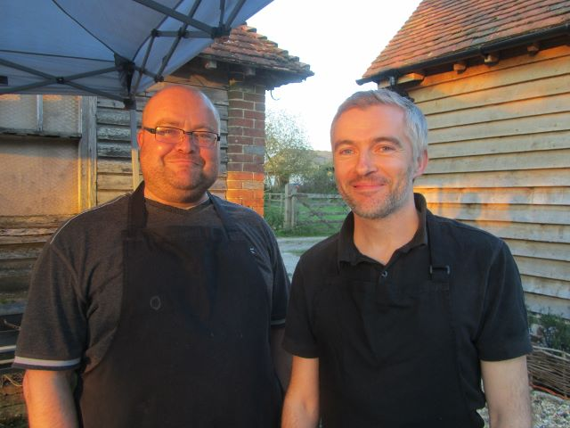 Paul Martin and Toby Harmer – their customers look forward to buying and eating Knepp beef, venison and pork