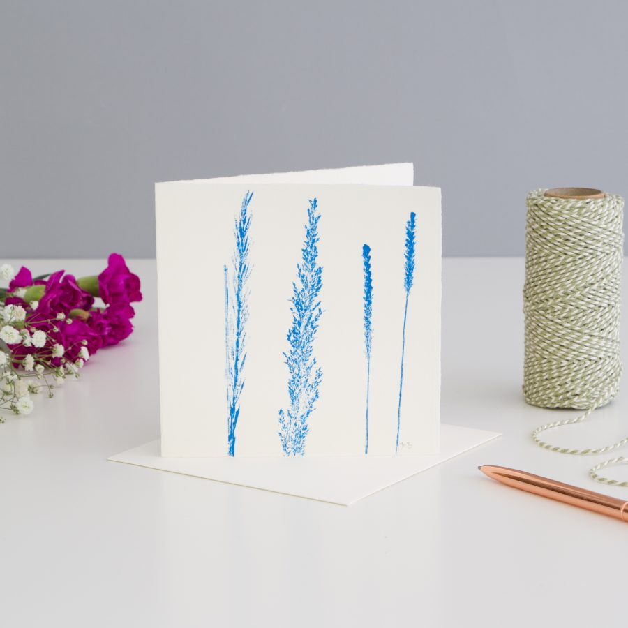 Grass Print Note Card - Blue