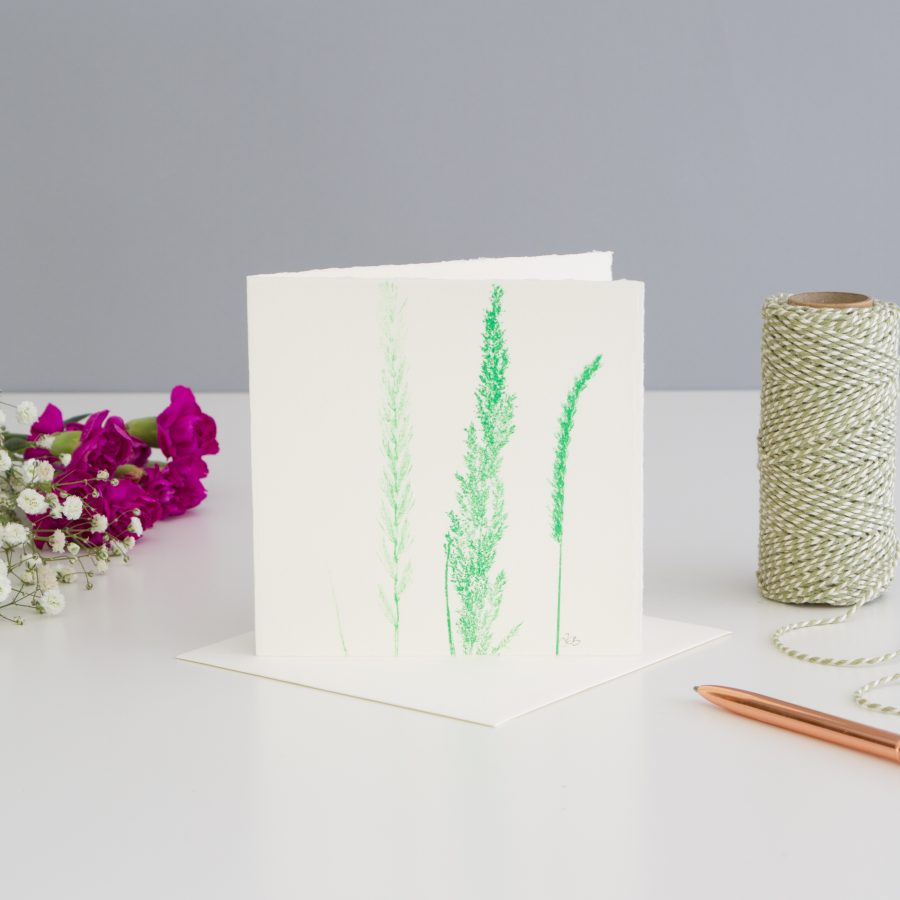 Grass Print Note Card - Green
