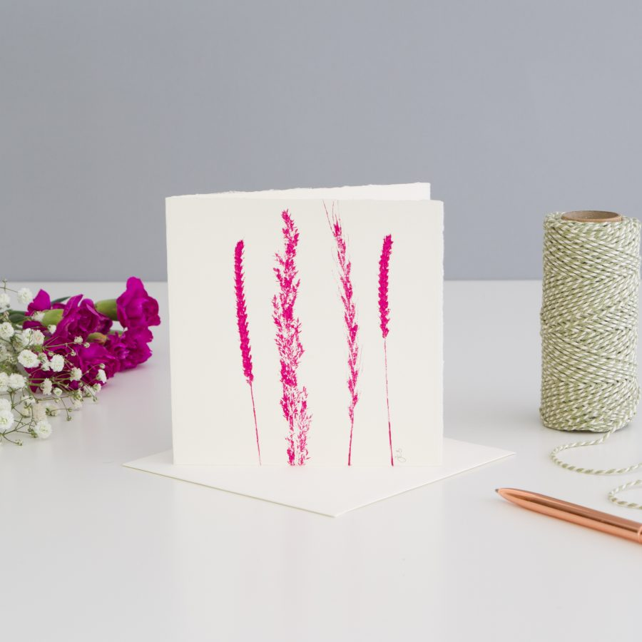 Grass Print Note Card - Pink