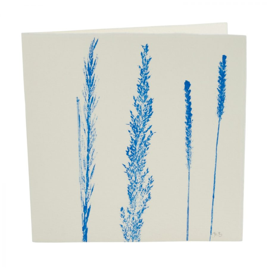 Grass print note card blue cut-out