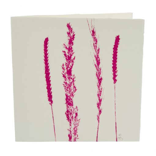 Grass print note card pink cut-out
